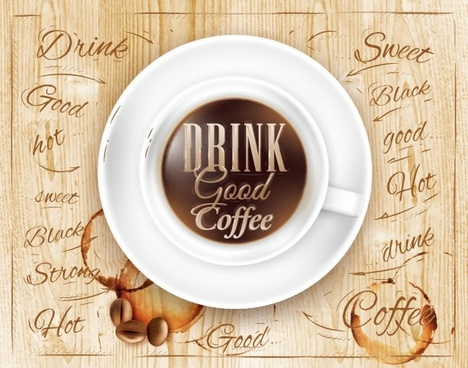 creative coffee elements with wooden background vector