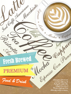 creative coffee poster advertising design vector