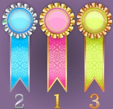 creative colored award badges vector