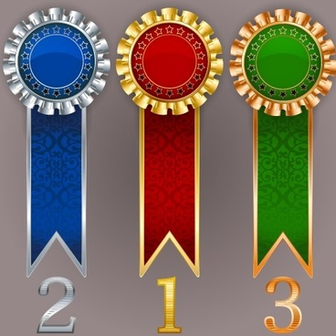 creative colored award badges vector