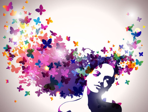 creative colored butterfly with woman vector