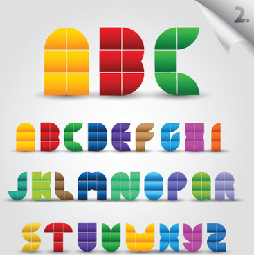 creative colorful decorative alphabet vector graphics