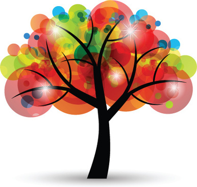 creative colorful tree design elements vector