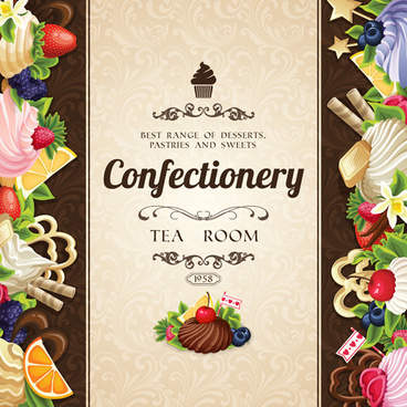 creative confectionery with sweet background vector