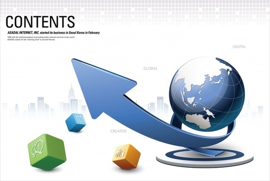 business background cubes globe arrow sketch dynamic 3d