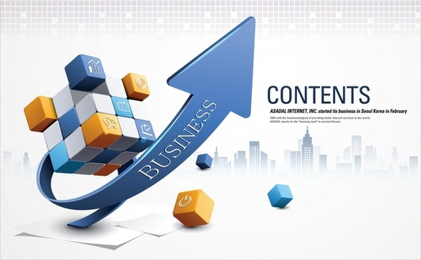 business strategy background cubes arrow sketch dynamic 3d
