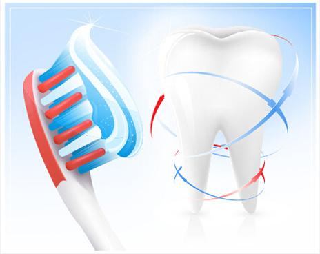creative dental care elements vectors