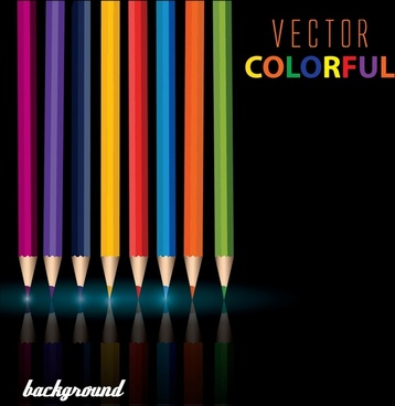 education background colorful pencils decor dark shiny modern