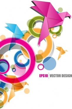 creative design background vector origami ribbon text