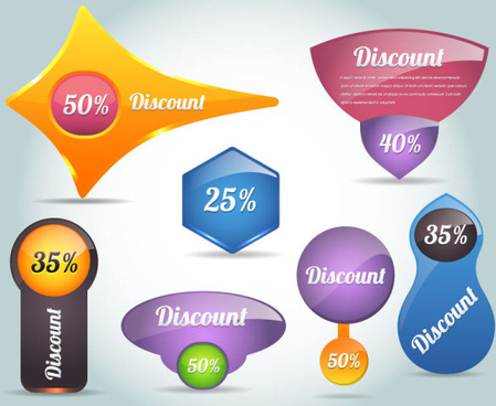 creative discount labels vector