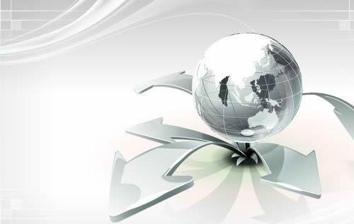 technology background shiny modern 3d globe arrows decor