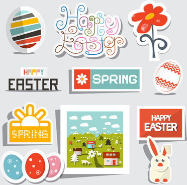 creative easter stickers vector