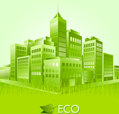 creative ecology city background illustration