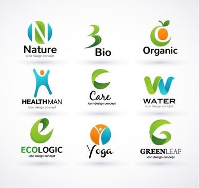 creative ecology logos design vector set