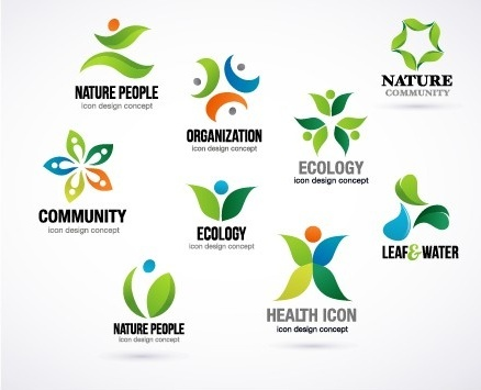 creative ecology logos design vector set