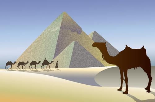 creative egypt pyramids background vector graphics