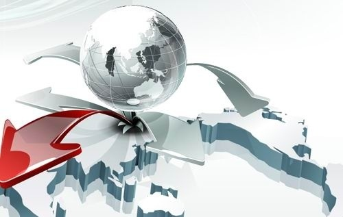 creative eruptions earth poster background vector 4 arrow