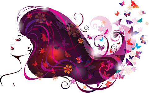 creative floral hair with woman vector