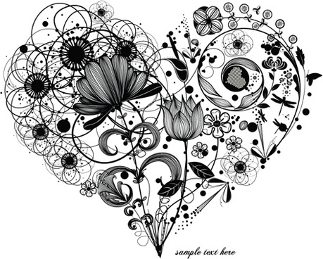 creative floral hearts design vector graphics