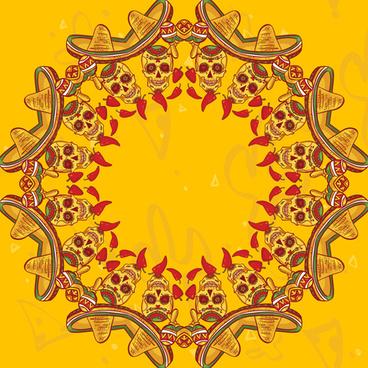 creative floral skulls frame vector background