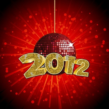 creative fonts 2012 ball vector