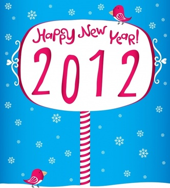 creative fonts happy new year 2012 vector