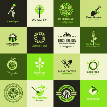 creative food elements logos vector
