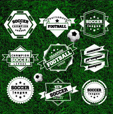 creative football labels design vector graphics