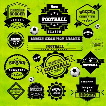 creative football labels design vector graphics
