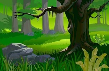creative forest landscape background vector