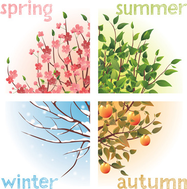 creative four season elements vector