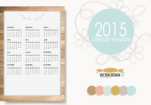 creative frame15 calendar with floral vector template
