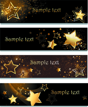 creative golden stars vector banner