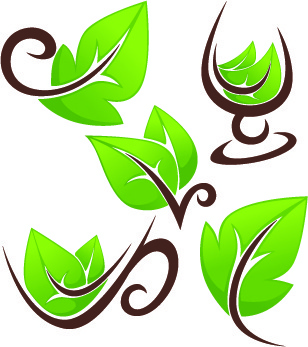 creative green leaf logos vector