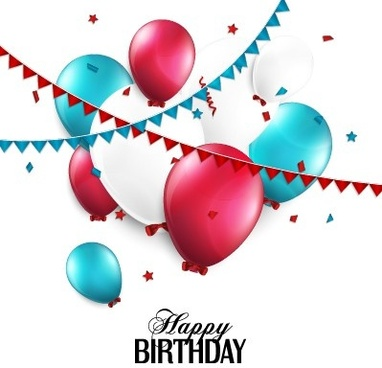 creative happy birthday background with balloon vector