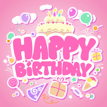 creative happy birthday design elements vector art
