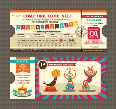 creative happy birthday ticket design vector