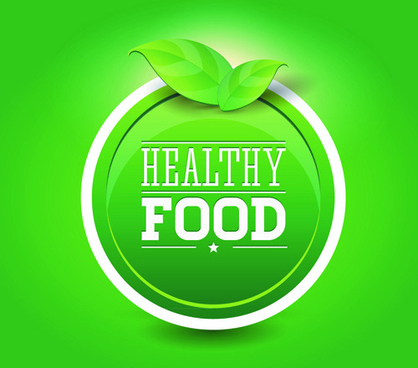creative healthy food labels vector