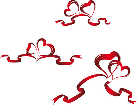 creative heart from red ribbon design vector