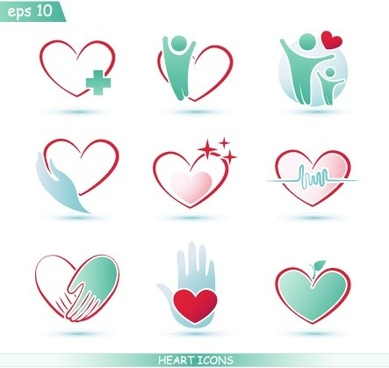 creative heart icons design graphic vector