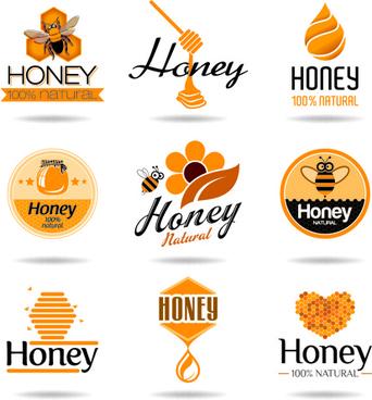 creative honey logos desing vector