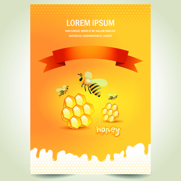 creative honey poster vector design