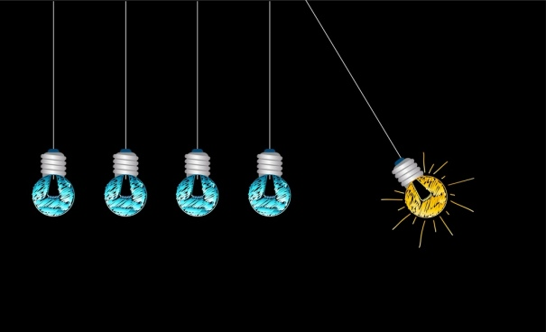 creative idea concept background colored light bulbs decoration