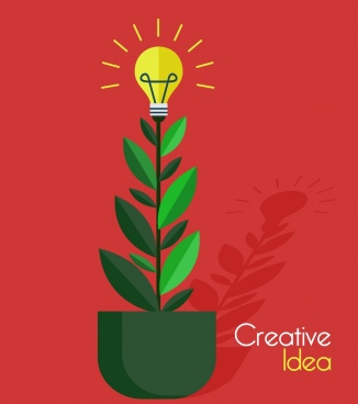 creative idea concept background growing tree lightbulb icons