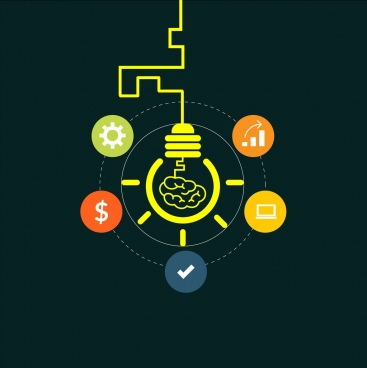 creative idea concept colorful icons and lightbulbs sketch