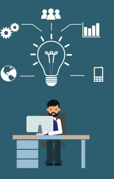 creative idea infographic businessman and working icons decoration