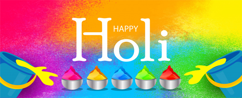creative illustration of happy holi posterinvitation card and colorful background with realistic powder paint and calligraphic text vector