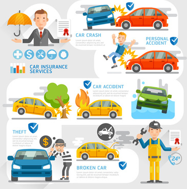 creative insurance business infographic template vector