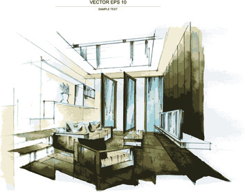 Superior Creative Interior Sketch Design Vector