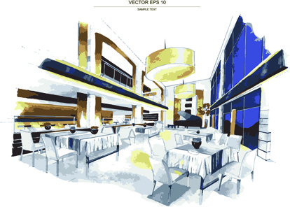 Creative Interior Sketch Design Vector